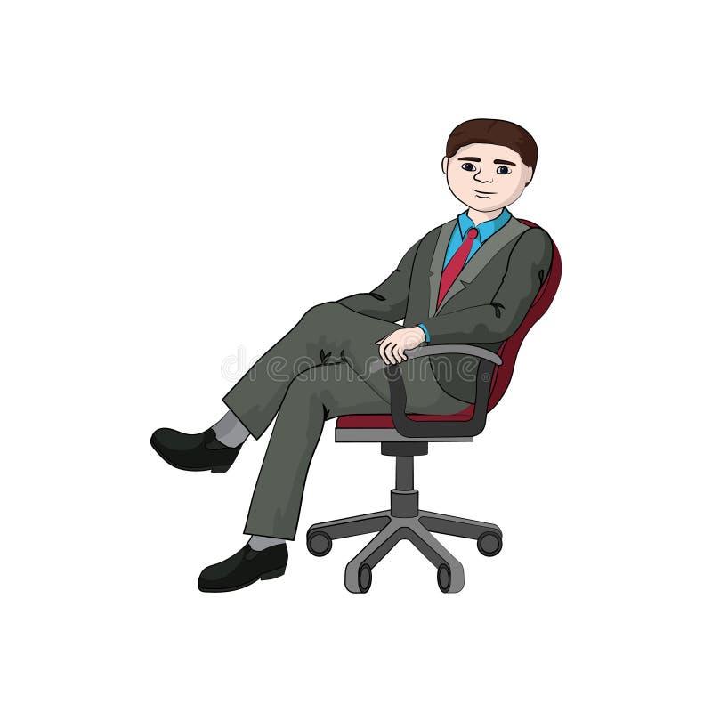 En affärsmanpojke, man sitter i en kontorsstol royaltyfri illustrationer