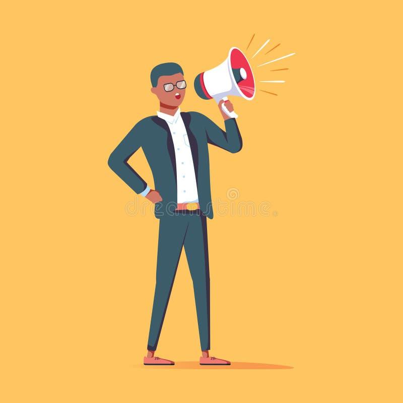 En afrikansk amerikanaffärsman i formell dräktinnehavmegafon stock illustrationer