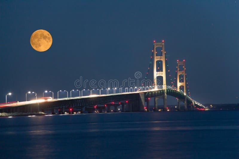 En aftonsikt av den Mackinac bron fotografering för bildbyråer
