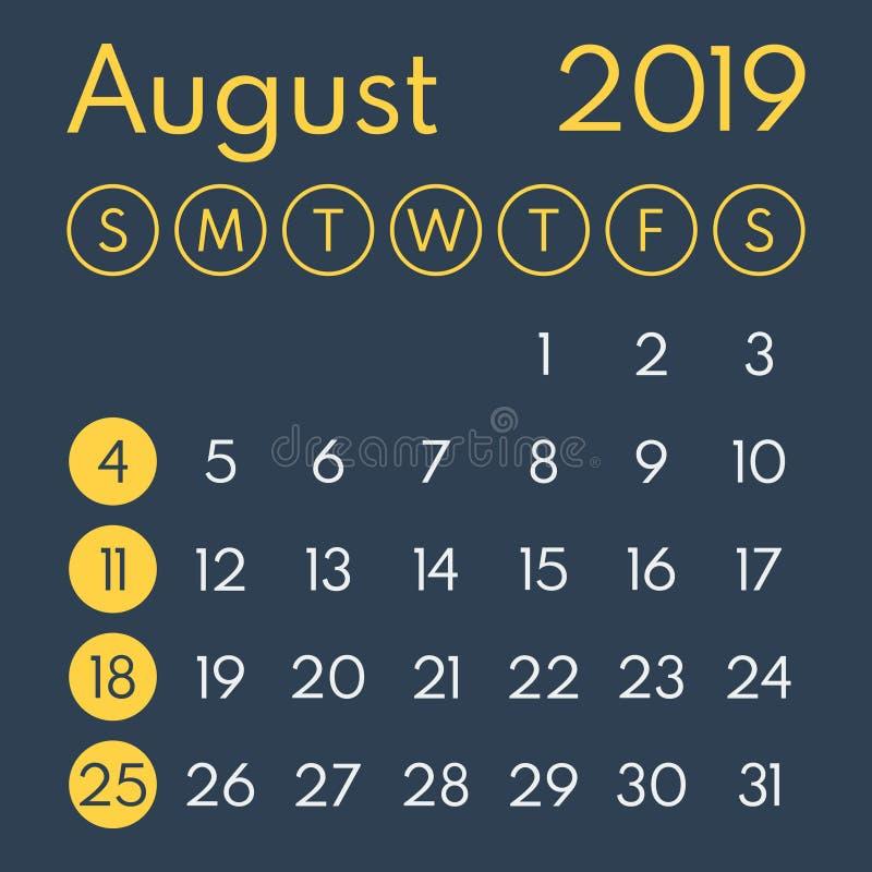 En agosto de 2019 calendario del vector en fondo oscuro libre illustration