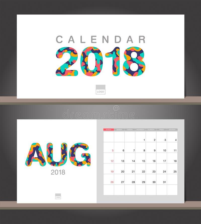 En agosto de 2018 calendario Plantilla del diseño moderno del calendario de escritorio con ilustración del vector