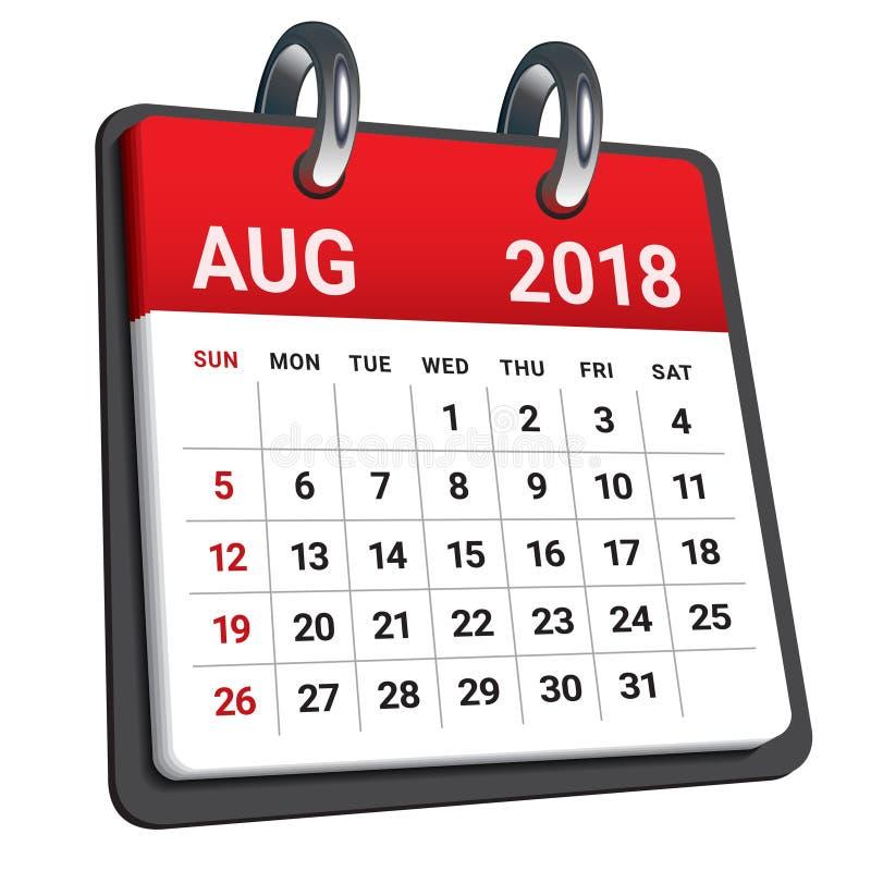 En agosto de 2018 ejemplo del vector del calendario ilustración del vector