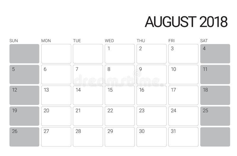 En agosto de 2018 ejemplo del vector del calendario de escritorio libre illustration