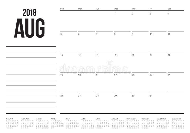 En agosto de 2018 ejemplo del vector del calendario del planificador stock de ilustración