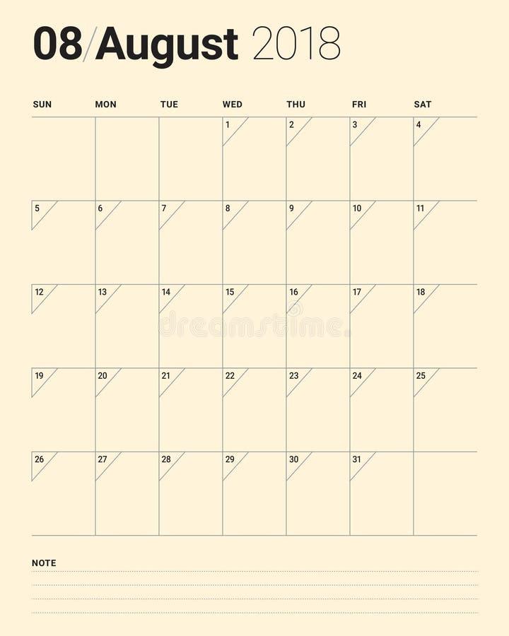 En agosto de 2018 ejemplo del vector del calendario del planificador ilustración del vector