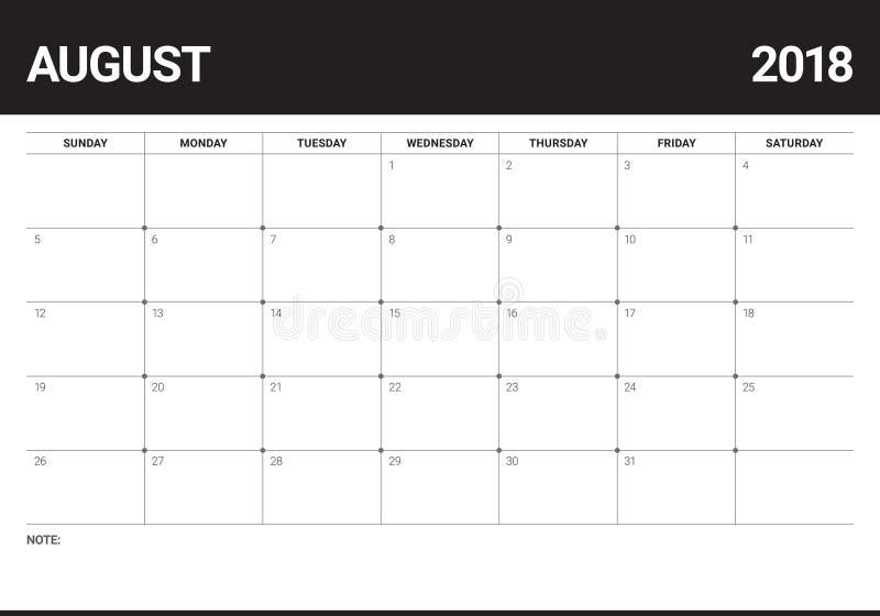 En agosto de 2018 ejemplo del vector del calendario del planificador libre illustration