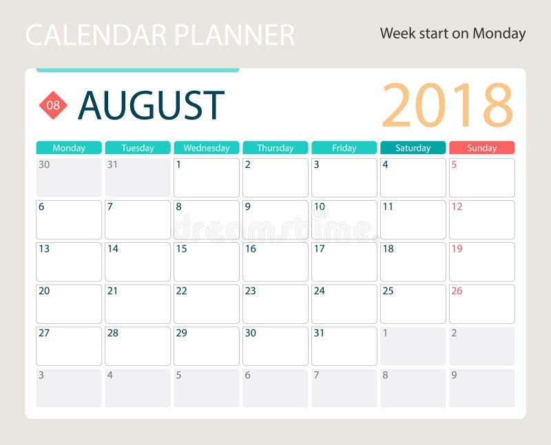 en agosto de 2018, el calendario o el planificador del escritorio, semanas del vector del ejemplo comienza el lunes stock de ilustración