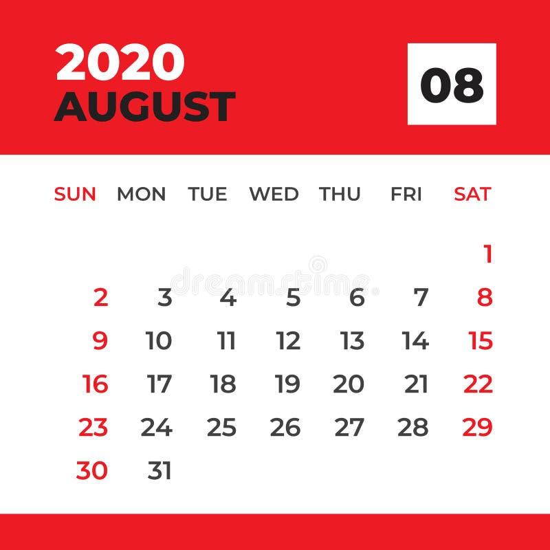 EN AGOSTO DE 2020 plantilla, calendario de escritorio por 2020 a?os, comienzo de la semana el domingo, dise?o del planificador, e libre illustration