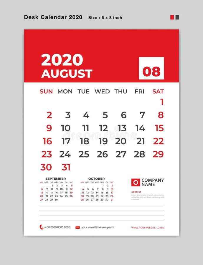 EN AGOSTO DE 2020 plantilla del año, calendario de escritorio por 2020 años, comienzo de la semana el domingo, planificador, efec ilustración del vector