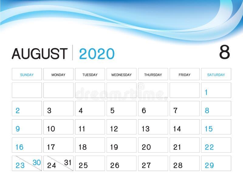 EN AGOSTO DE 2020 plantilla del año, vector 2020, diseño del calendario del calendario de escritorio, comienzo de la semana el  libre illustration