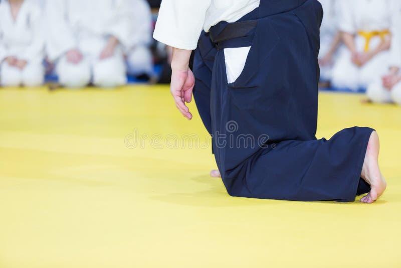 En Aikidoinstruktör på kampsportseminarium royaltyfri foto