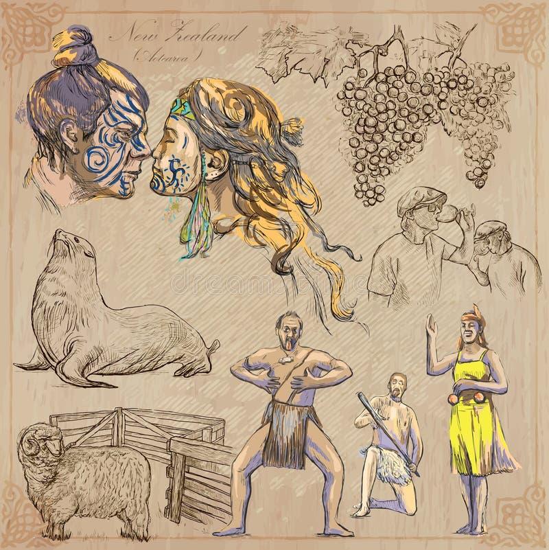 En alguna parte en Nueva Zelandia Imágenes de la vida Paquete del vector Dibujos de la mano libre illustration