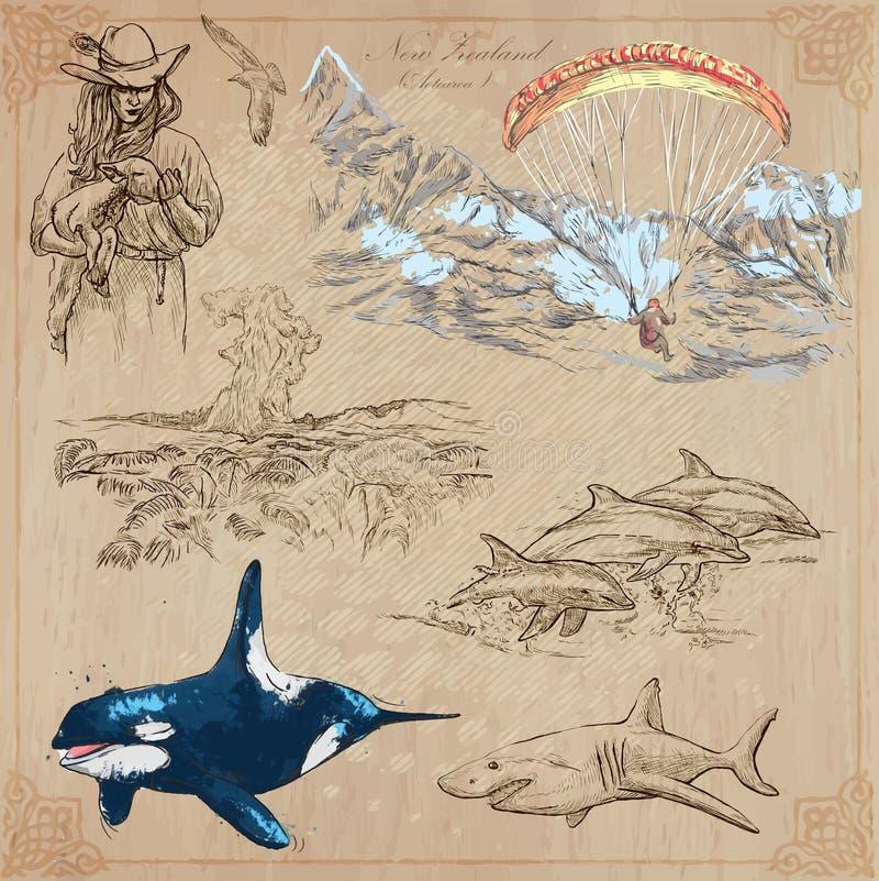 En alguna parte en Nueva Zelandia Imágenes de la vida Paquete del vector Dibujos de la mano ilustración del vector