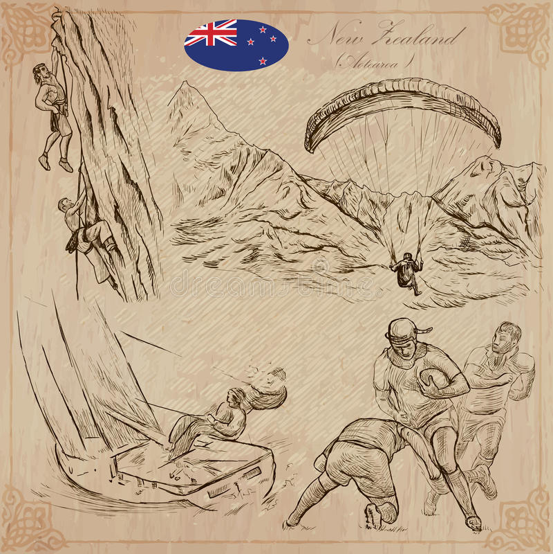 En alguna parte en Nueva Zelandia Imágenes de la vida Paquete del vector Dibujos de la mano stock de ilustración