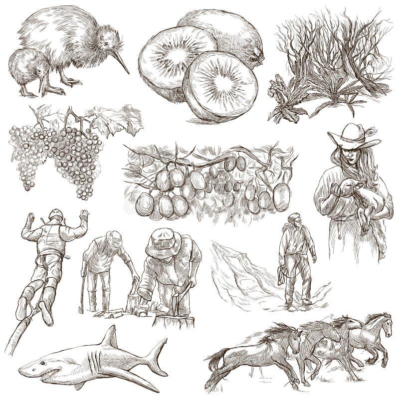 En alguna parte en Nueva Zelandia Imágenes de la vida Sistema a pulso Un colle dibujado mano ilustración del vector