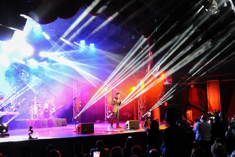 En allmän atmosfär på etapp under den stora Apple musiken tilldelar konsert 2016 royaltyfri foto