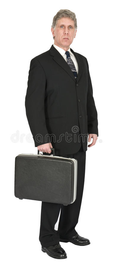 Allvarlig affärsman med portföljen som isoleras på vit royaltyfria foton
