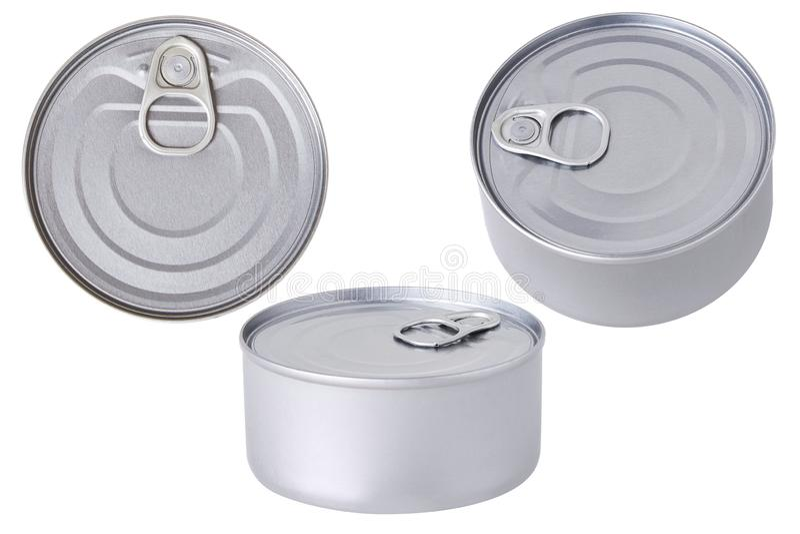 En aluminium boîte en fer blanc conserver d'isolement images libres de droits