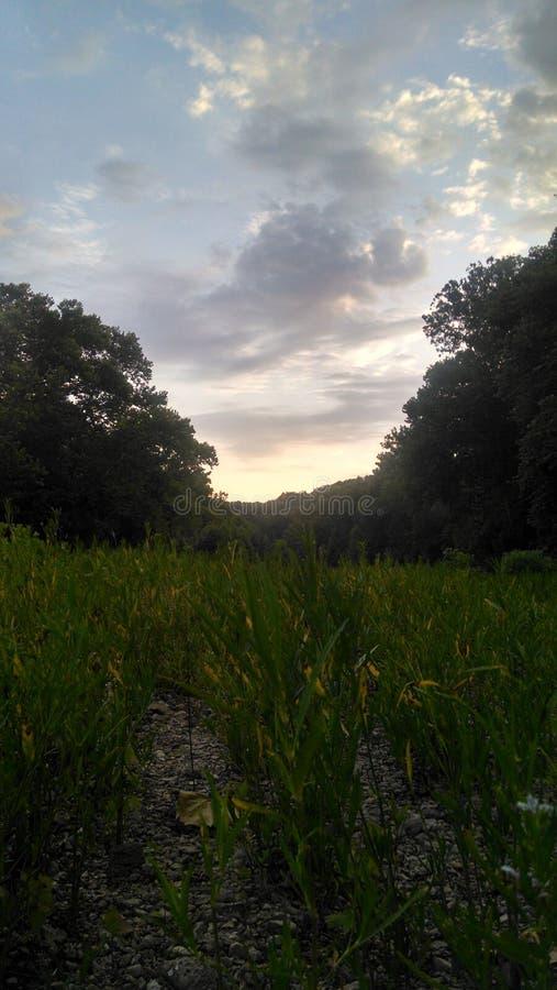 En annan härlig sikt av en solnedgång royaltyfri bild