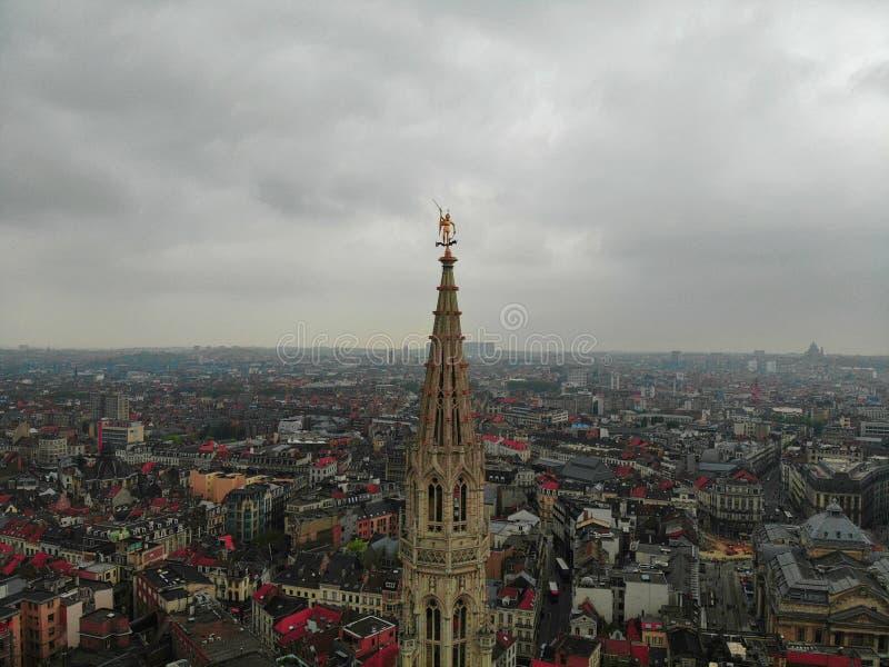 En annan punkt av sikten i härlig stad av Bryssel Huvudstaden av det europeiska landet med stor historia Surrfotografi arkivbild