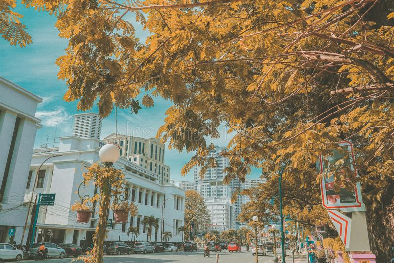 En annan sida av staden royaltyfria foton