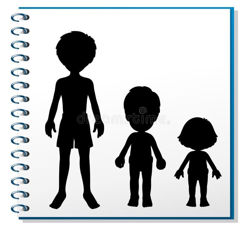 En anteckningsbok med en bild av tre människor royaltyfri illustrationer