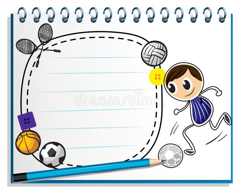 En anteckningsbok med en skissa av de olika sportarna spelar royaltyfri illustrationer