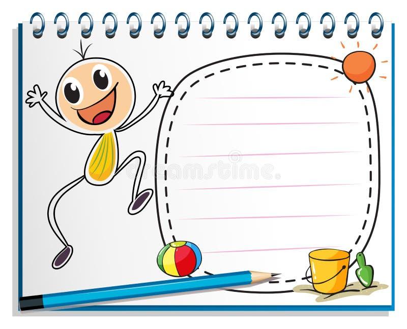 En anteckningsbok med en teckning av en barnbanhoppning royaltyfri illustrationer