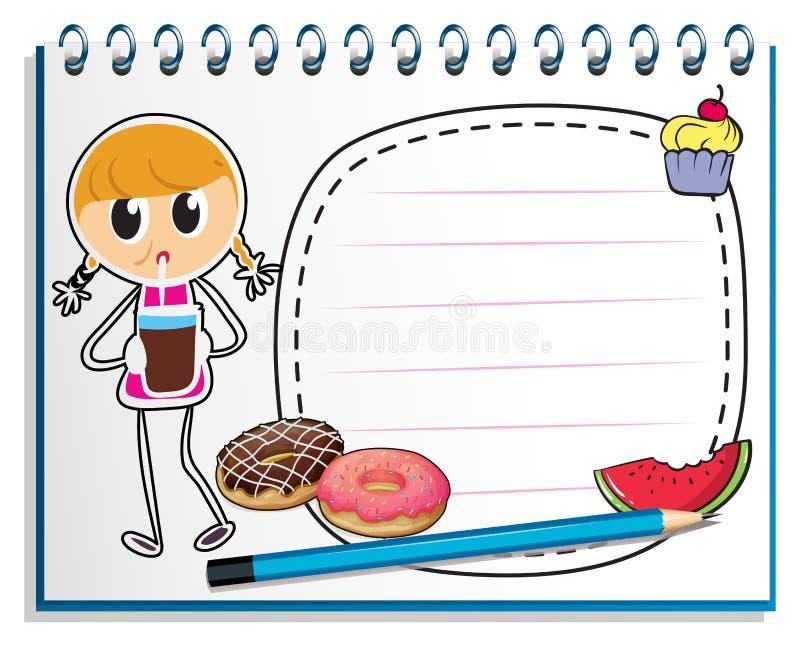 En anteckningsbok med en teckning av en flicka med en fruktsaft vektor illustrationer