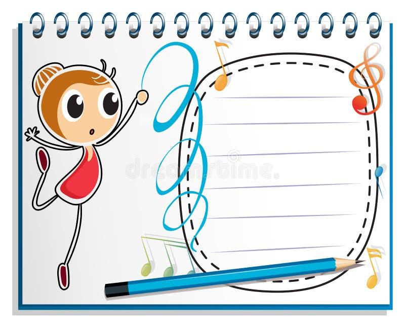 En anteckningsbok med en teckning av en flickadansbalett vektor illustrationer