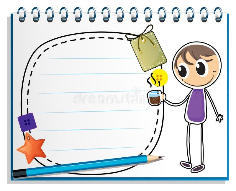En anteckningsbok med en teckning av en pojke som rymmer en kopp av varmt te stock illustrationer