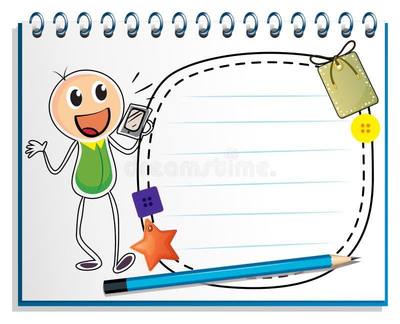 En anteckningsbok med en teckning av en pojke som rymmer en radio vektor illustrationer