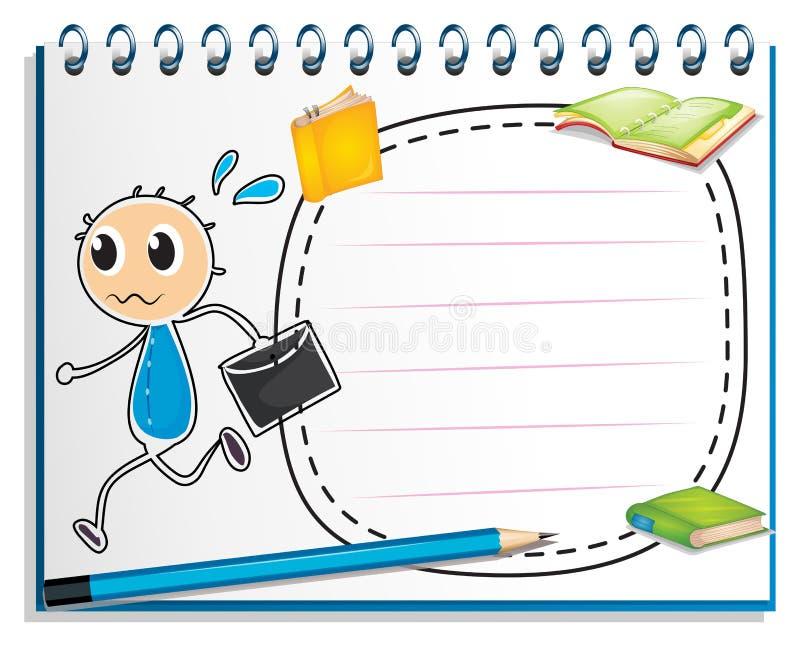 En anteckningsbok med en teckning av en pojke som rymmer ett kuvert royaltyfri illustrationer