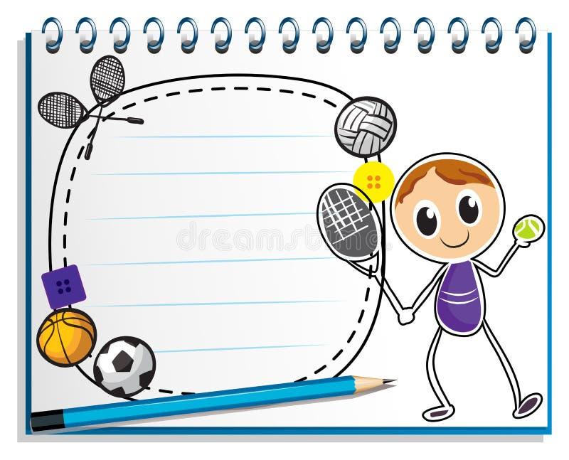 En anteckningsbok med en teckning av en pojke som spelar tennis vektor illustrationer
