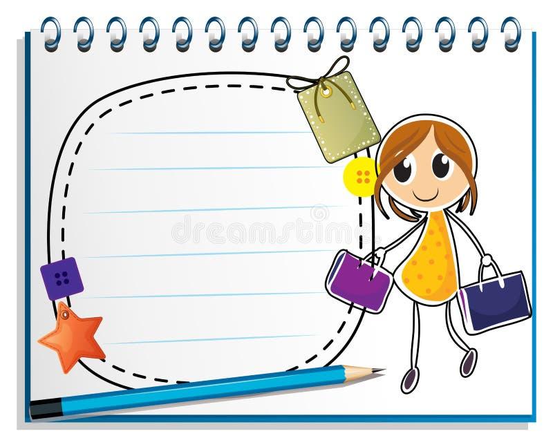 En anteckningsbok med en teckning av ett flickainnehav hänger löst stock illustrationer
