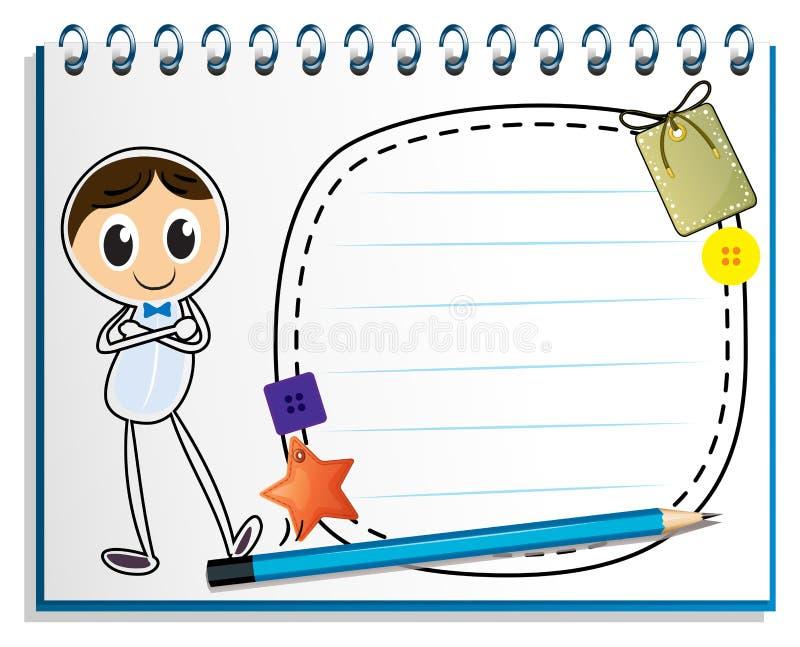 En anteckningsbok med en teckning av ett mananseende vektor illustrationer