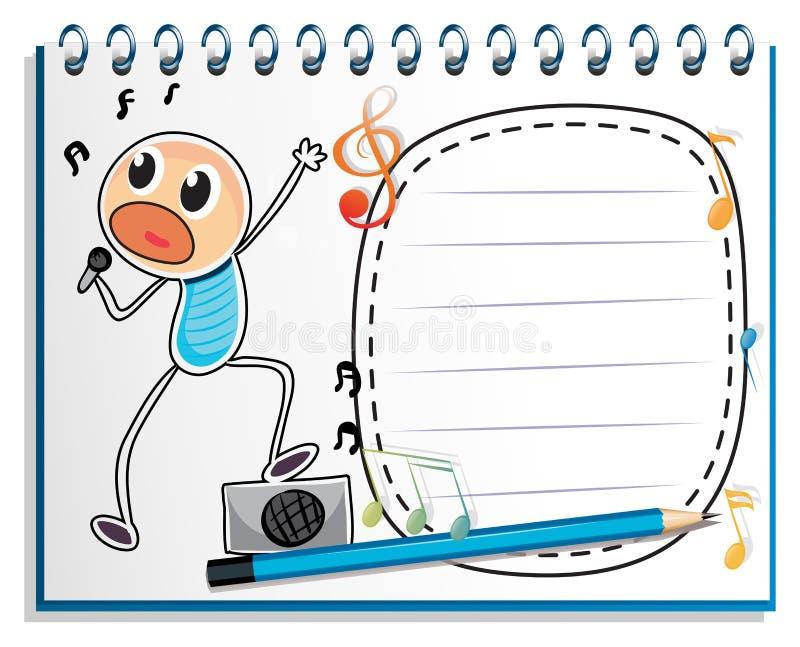 En anteckningsbok med en teckning av sjunga för pojke vektor illustrationer