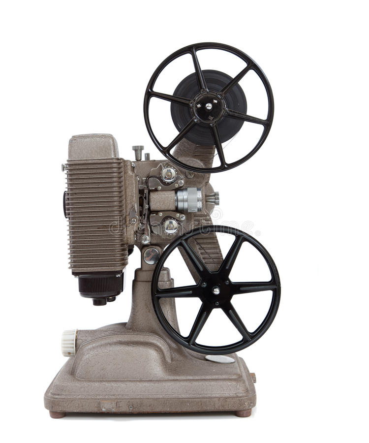 En antik 8mm filmprojektor på white arkivbild