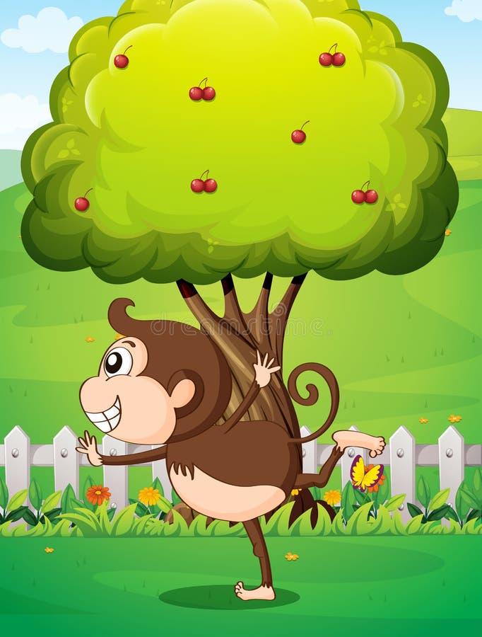 En apa framme av trädet i gården royaltyfri illustrationer