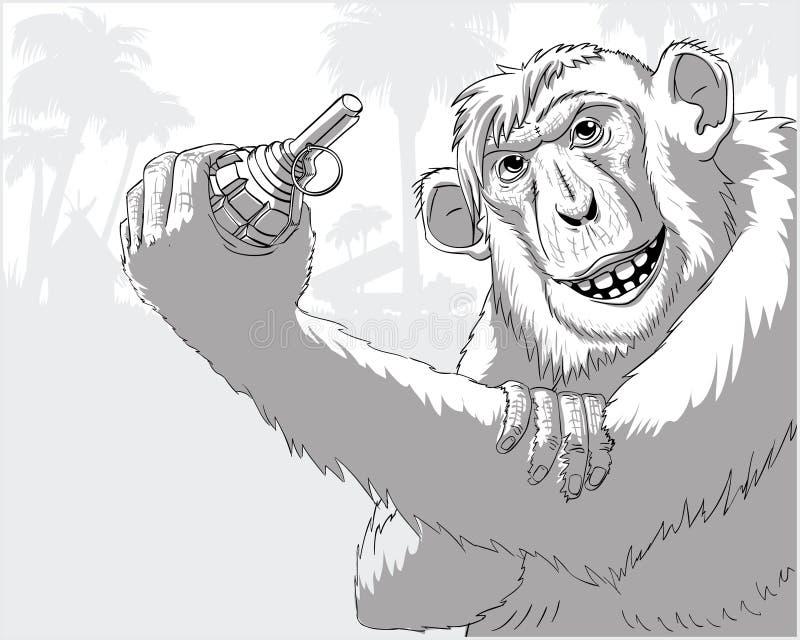 En apa med en granat stock illustrationer