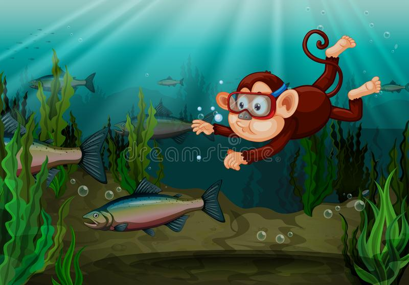 En apa som fångar fisken i floden stock illustrationer