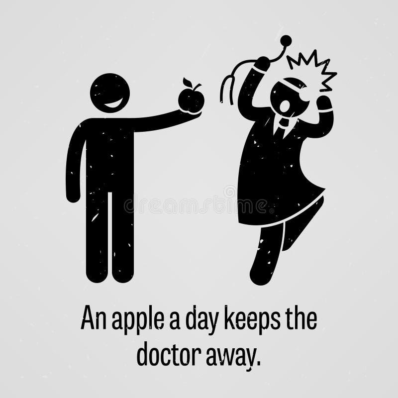 En Apple om dagen håller ordspråket för doktor Away Funny Version royaltyfri illustrationer