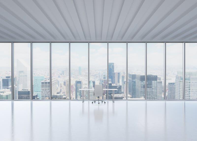En arbetsplats i ett modernt panorama- kontor i New York City fotografering för bildbyråer