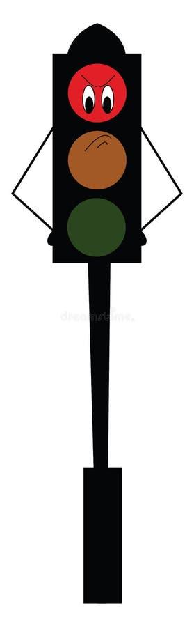 En arg karikatyrröd lampa monterad på en svartfärgad postvektor eller färgbild stock illustrationer