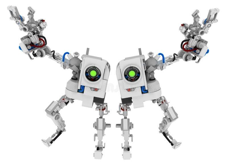 En armrobot kopplar samman stock illustrationer
