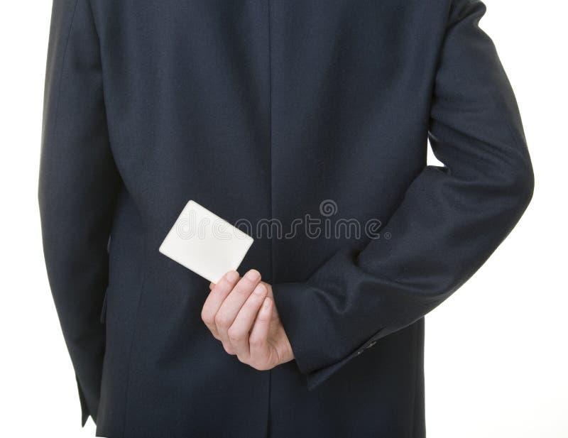 en arrière derrière la carte vierge d'homme d'affaires sa fixation photos libres de droits