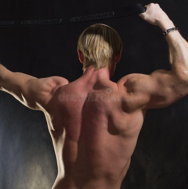 En arrière du bodybuilder musculaire image stock