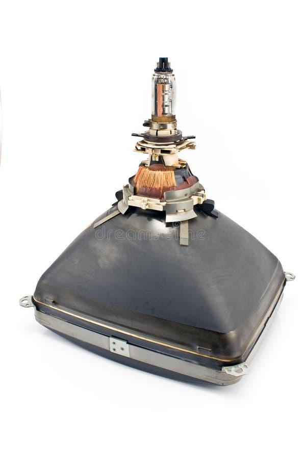 En arrière du vieux tube de cathode de télévision photo stock