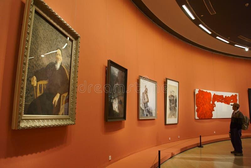 En Asie, la Chine, Pékin, Musée d'Art, la disposition de hall d'exposition, conception intérieure images stock