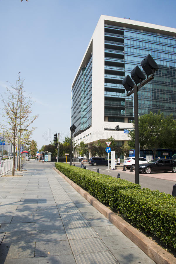 En Asie, la Chine, Pékin, ville, paysage de rue, architecture moderne, image stock
